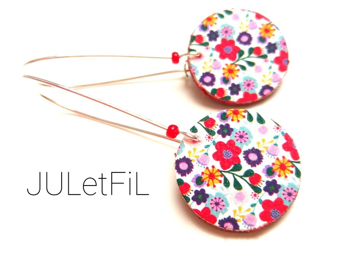 Earrings leather printed flowers liberty