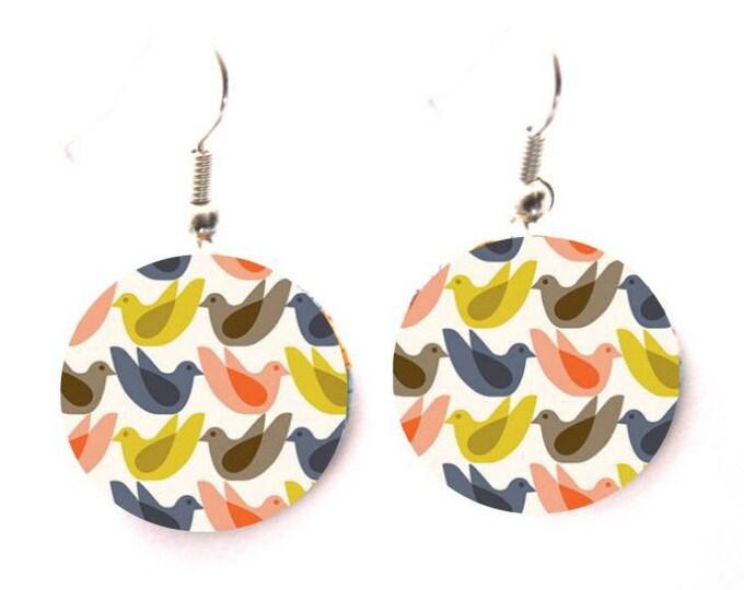 Geometric Stud Earrings Scandinavian bird graphics