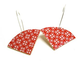 Leather Stud Earrings geometric pattern Japanese washi