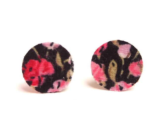Earrings liberty fabric flowers on black background double sided