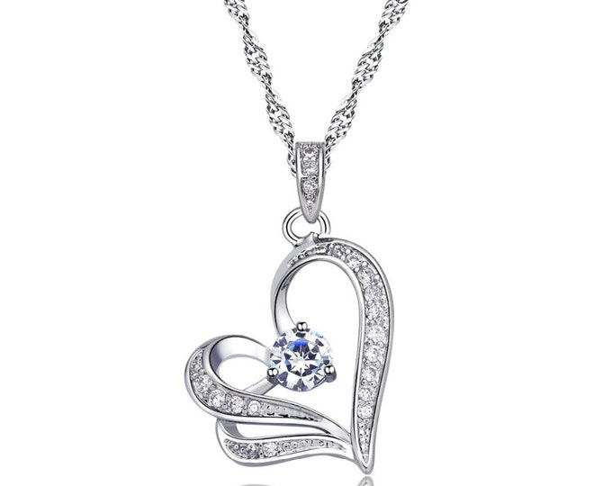 Austrian crystal hearts pendant necklace