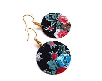 Earrings fabric liberty flowers, gold hooks (or silver on request)