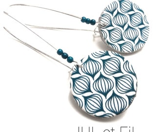 Scandinavian printed leather earrings