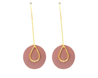 Leather earrings glossy brown rosewood pop