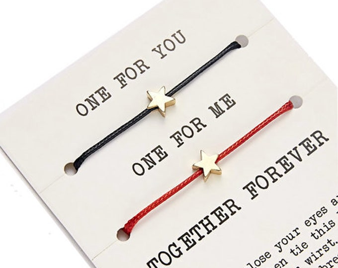 Duo bracelets you love me friendship together for ever inseparable adjustable stars