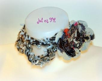 Col crochet free form arceaux, broche tissus