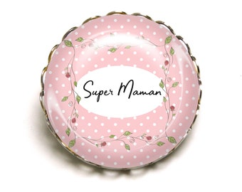 Brooch Super MOM pink polka dots JEF ©