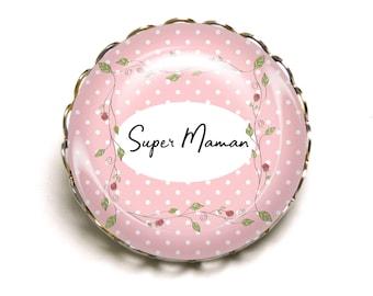 Brooch Super MOM pink polka dots JEF ©