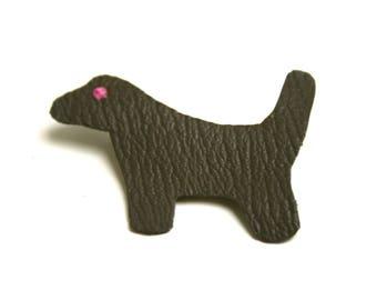 BON PLAN Broche cuir minimaliste chien cuir de chèvre sans chrome taupe