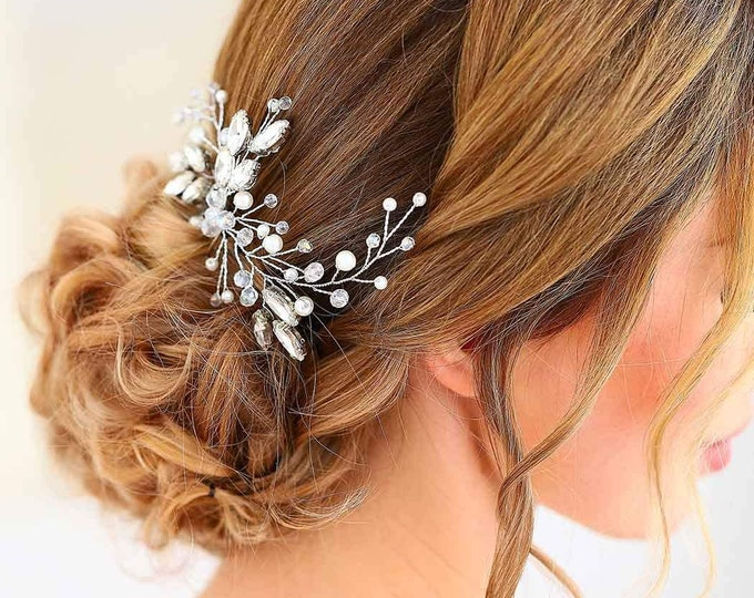 Jewel hair comb waterfall of pearls comb woman hairstyle