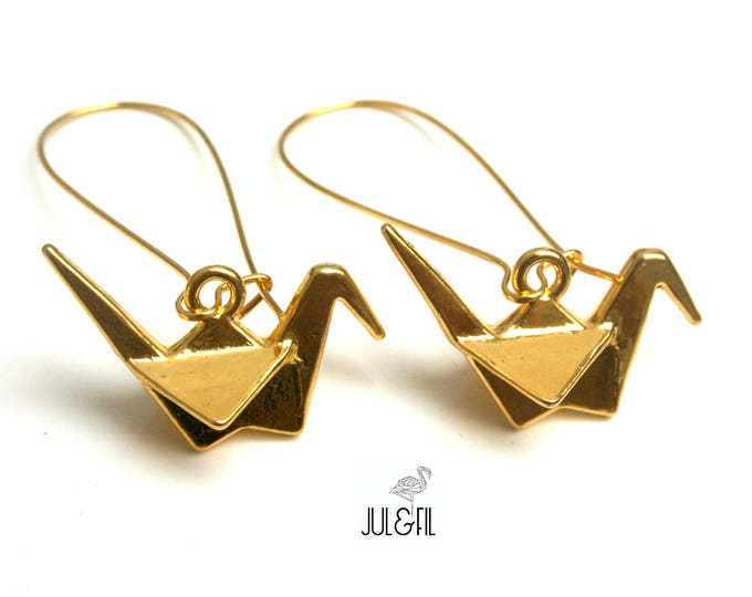 Japanese cranes in Golden brass Stud Earrings