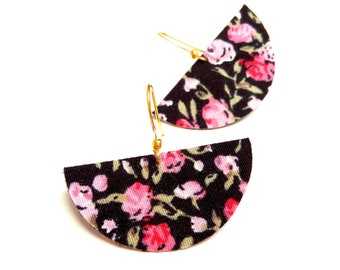 Half moon earrings liberty fabric flowers on black double-sided background