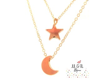 Fine star and moon gold necklace