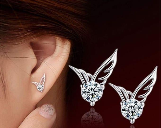 Angel wings ear chips on rhinestones carved gift woman