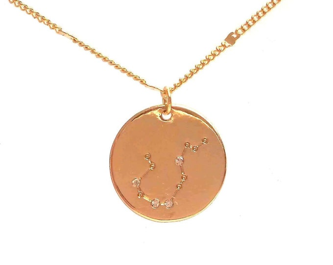 Brass chain necklace medallion star rhinestones