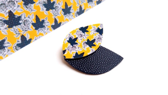 Navy leather and printed leather brooch