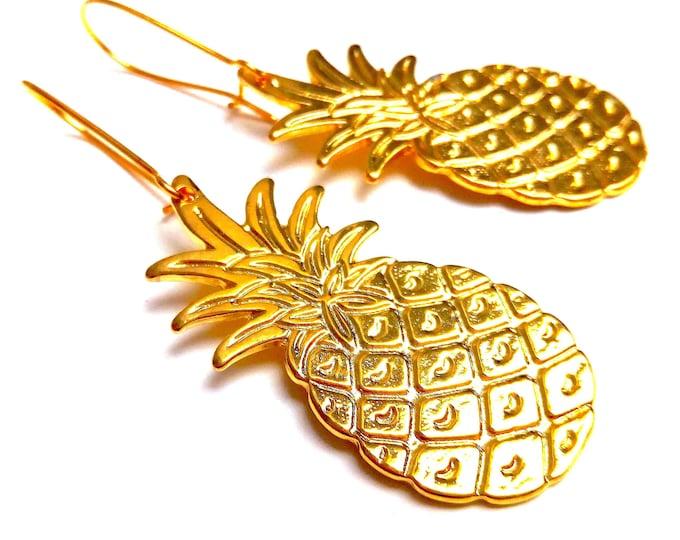 Golden brass pineapple earrings