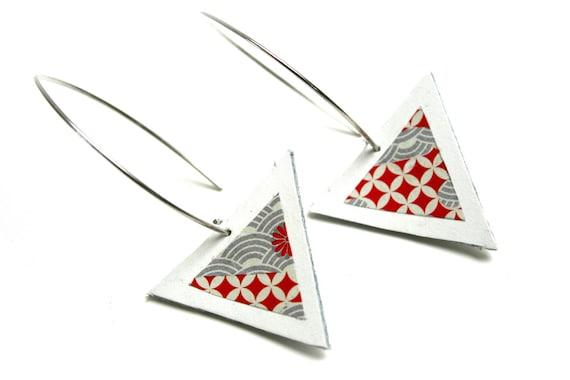 White Leather earrings triangle geometric pattern washi Japanese paper large hooks brass design