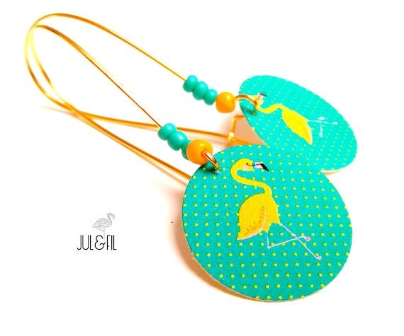 Yellow Flamingo earrings on Emerald background, organic cotton canvas