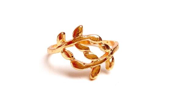 Olive leaf branch ring