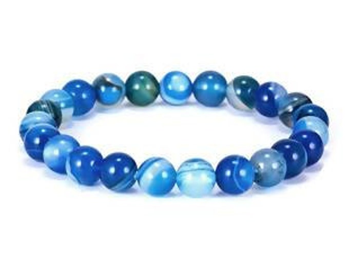 Bracelet confidence, peace, security, couple, woman, natural pearls agate blue striped