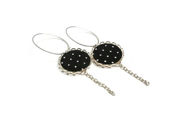 Black and white polka dot fabric rings earrings