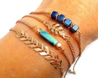 Stacking set of 4 fine TROPICAL brass adjustable bracelets