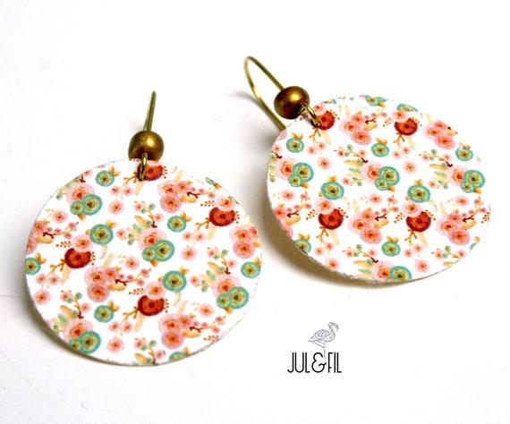Flowers on canvas boho earrings
