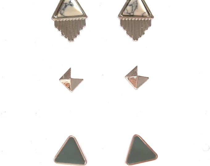Stacking, studs, 3 pairs of woman art deco earrings to accumulate