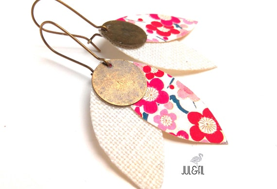 Earrings AKEMI Asian petals, INNOLIN linen, Japanese fabric, brass stamp