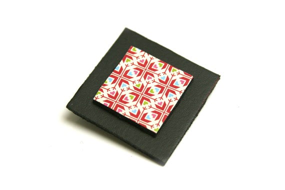 Leather black geometric square stacked pattern paper japonaisgraphiques brooch