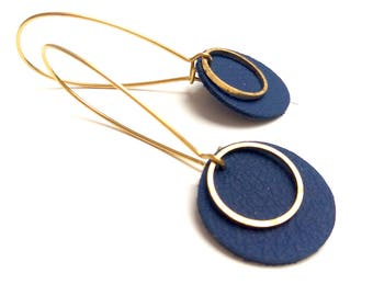 Navy blue pop leather earrings without chrome