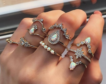 Set of 10 gold, rhinestone and pink nude ring size L 16/18.5mm