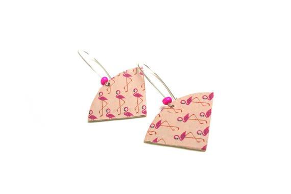 Pink leather nude pink flamingos fan earrings