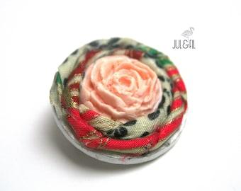 Japanese powdered pink wood brooch