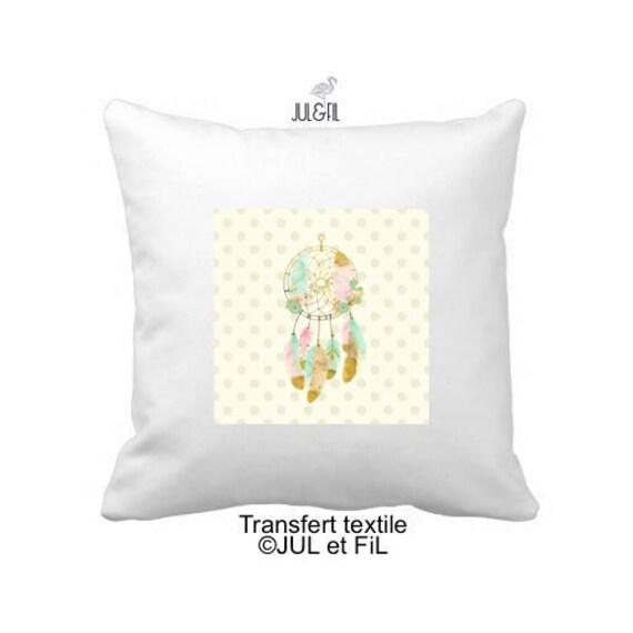 Textile transfer iron on beige dots dreamcatcher