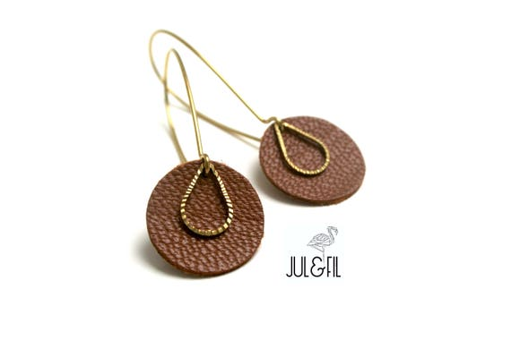 Tan Leather earrings, drop ridged brass