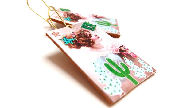 Earrings leather revisited romance cactus illustration