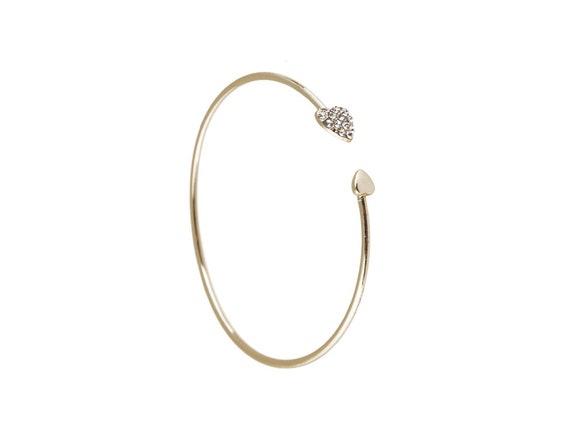 Open Heart Rhinestone brass bracelet