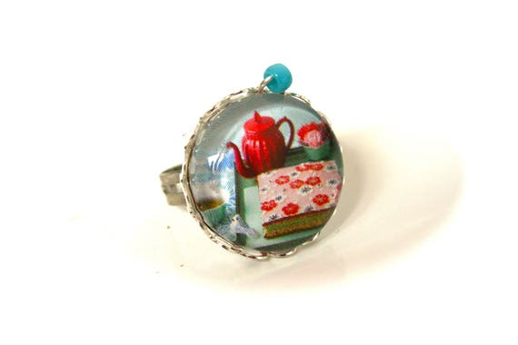 Ring cabochon tea, cup cakes, flowers Bohemian Japan chic glass cabochon ring adjustable jewelry POP