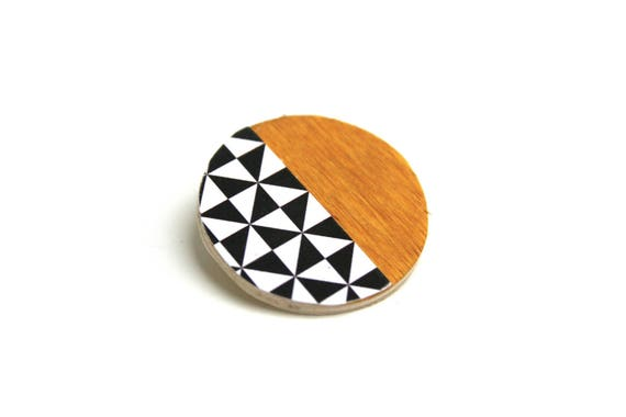 Brooch mustard, black and white, Scandinavian, minimalist, natural wood triangles