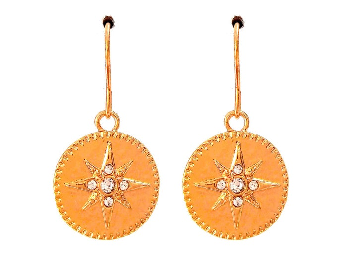Brass rhinestone polar star rings