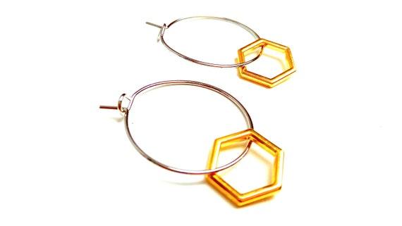 Minimalist brass Hexagon rings
