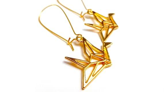 Cranes earrings origami Japanese brass