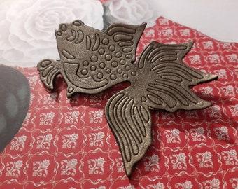 Japanese koi carp leather brooch