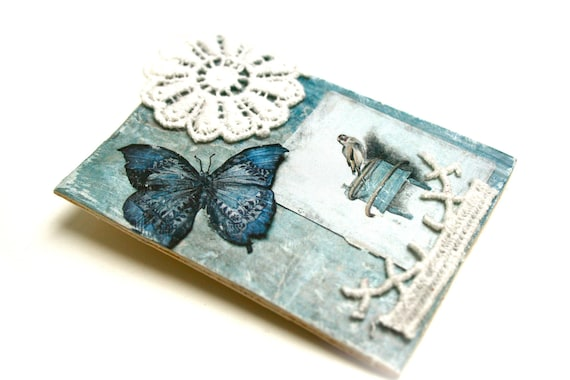 Wooden boho brooch rustic neo shabby weathered wood, vintage Butterfly Blue Bird illustration flower lace