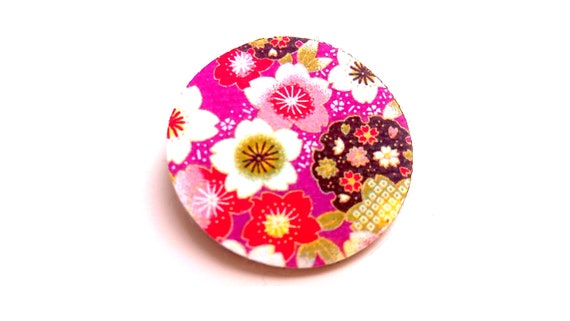 Japanese washi pattern leather brooch