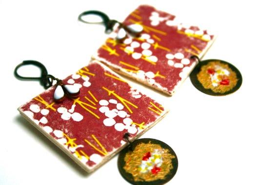 Earrings ethnic Bohemian earrings rustic weathered wood, paper Japanese vintage