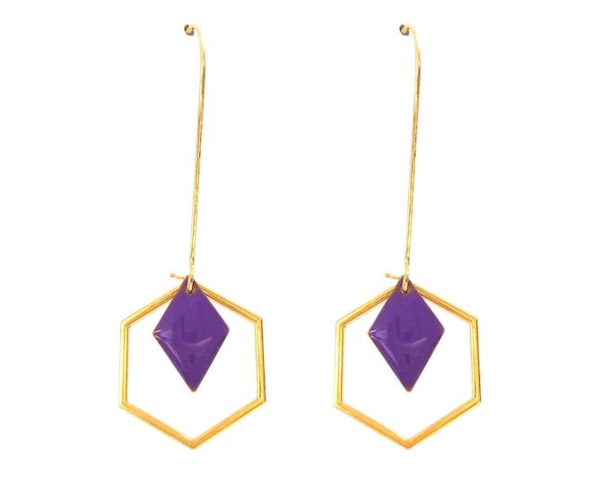 Art deco rings hexagonal sequin enamelled purple diamonds