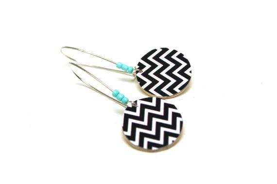Sleepers wooden Scandinavian Chevron black and white, minimalist, natural wood, large hooks, light turquoise beads